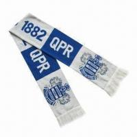 Quality Sport Knitted Scarves for Advertisements, with Jacquard Logo, Made of Acrylic wholesale