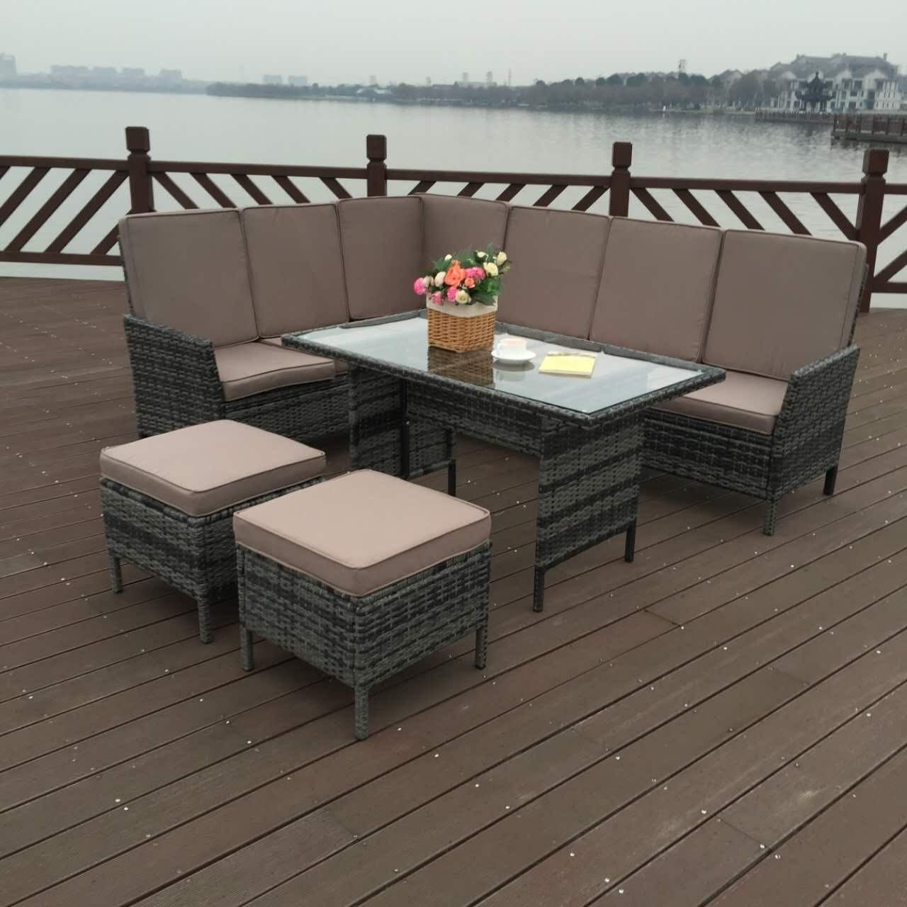 China Grey 150kg Outdoor Rattan Garden Furniture 5 Sets Chair With Table on sale