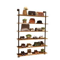 Quality Wood / Metal Indoor Shoe Rack Display Shelves Modern 6 Layers Store Fittings wholesale