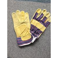 Quality 10.5 Leather Safety Working Gloves Full Palm Stripe Cotton Back And Pasted Cuff wholesale
