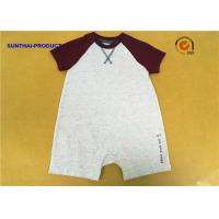 Quality Raglan Baby Boy Short Sleeve Bodysuits Color Custom With U Shaped Crotch wholesale