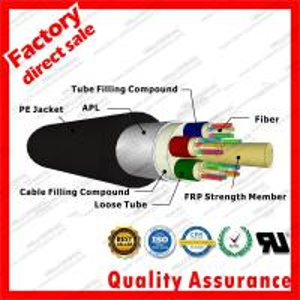 China outdoor fiber optic cable gyfta multi 9/125 24cores stranded tube FRP Aluminum duct optical cables black PE jacket on sale
