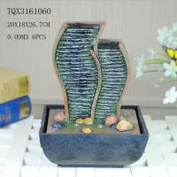 Green Polyresin Water Fountain Tabletop Waterfall Fountain With Natural Pebble