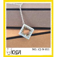 Quality 2012 hot selling square gold & black, crystal & 925 Silver handcrafted crystal necklace wholesale