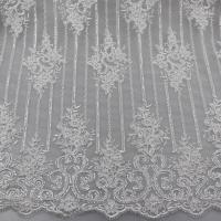 Quality Floral Corded Embroidered Sequin Lace Fabric For Bridal Gowns Dresses wholesale