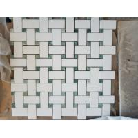 Quality Carrara White Bathroom Marble Mosaic Tile Chevron Pattern SGS Standard wholesale