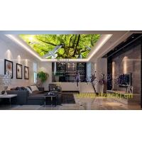 Quality Household Bamboo Fiber Ceiling Panel Systems White Dove Green Trees Nature Style wholesale