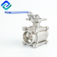 China 3 Piece Ball Valve Female Thread Mounting Pad ISO 5211 DN15 on sale