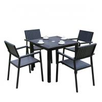 China Hot Sales Aluminium PE Rattan chairs Leisure Outdoor Garden Backyard Polywood table and chair furniture on sale
