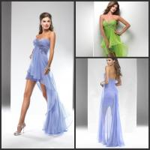 China 2013 In Stock Elegant Sweetheart Appliqued Hi Low Chiffon Bridesmaid Dresses on sale