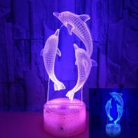 Quality OEM animal shape Dolphin 3D Lights Holiday Gifts Colorful Remote Control LED Stereo Visual Lights wholesale