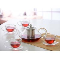 Quality Elegant Hand Made Glass Tea Pot Set With Stainless Steel Infuser And 5pcs Glass Tea Cups wholesale