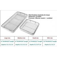 Cheap Medical Grade Stainless Steel Mesh Tray With Drop Handles For Washing Or Sterilization for sale