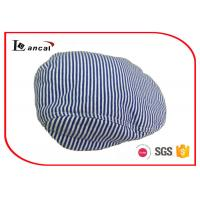 China Customized Navy Blue Wool Flat Cap With Button , Soft Peak Wool Scally Cap on sale
