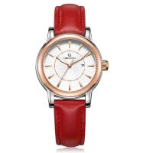 Quality Ladies red color genuine leather strap Miyota 2035 quartz movement women wrist watch wholesale
