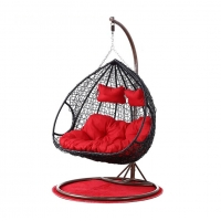 Quality Wicker SGS 150Kgs Capacity Double Hanging Rattan Chair With Metal Stand wholesale
