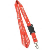 Quality Polyester Material White Logo Mech-tech imprint Red Lanyard With Rivets For Company wholesale