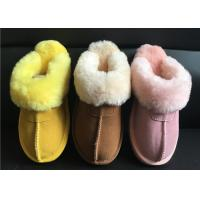 Quality Ladies Genuine Sheepskin Slippers Mules Non Slip Hard Sole Womens winter Warm Slippers wholesale
