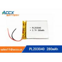 Quality 203040pl 3.7v lithium polymer battery with 280mAh ultrathin lipo battery for medical product wholesale