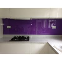 Buy cheap kitchen violet painted glass backsplash easily clean the