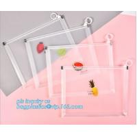 Quality Custom Packaging Clear PVC Jelly Bag with Plastic Slider Ziplock PVC Storage Cosmetics Packing Bag, white logo small pla wholesale