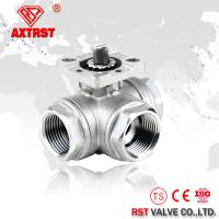 China T port / L port Three way ball valve with direct mounting pad reduced bore 1000WOG on sale