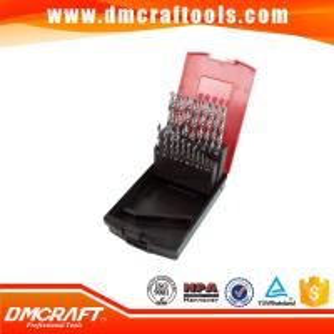 China 19pcs DIN338 hss twist drill bits set with rose plastic box on sale
