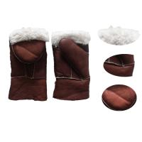 Hot selling warm mitten sheepskin leather gloves with cover in winter