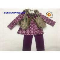 Quality Infant Size Children's Clothing Sets 100% Cotton With Faux Fur Vest / Tee / Bottoms wholesale