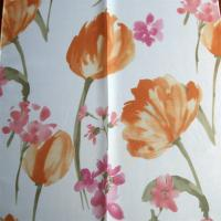 Quality red flower design free sample window curtain transparent wholesale