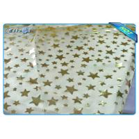 Quality Diposable Golden Star Printed Non woven Tablecloth Roll / Piece For Christmas Decoration wholesale