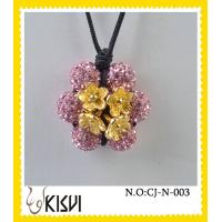Quality Low MOQ flower fashion shamballa handcrafted crystal jewelry necklace with factory price wholesale