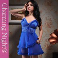 Fashionable Nylon Good Stretch Sexy Lingerie Babydoll Dress With Double Fur Skirt