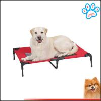 Summer Portable Travel Dog's Pet Camping Elevated Steel-Framed Bed Cot with Knitted Fabric