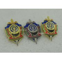 Cheap Hard Enamel Army Badges , Die Struck Zinc Alloy 3D Police Badge With Transparent Military for sale