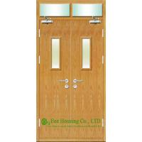 China Commercial fire retardant wooden doors With Glass Panel, 50mm thickness on sale