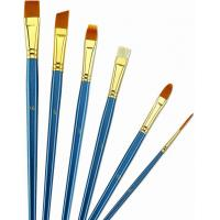 Quality Wooden Handle Golden Synthetic Paint Brush Sets , Interlocked Fine Bristle Paint Brushes wholesale