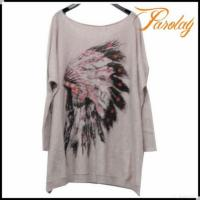 China Newest Printing Pattern Angora Sweaters For Ladies on sale