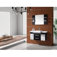 Quality Wall mount PVC bathroom cabinet 80 X 47 / cm walnut Color Square vanity wholesale
