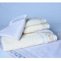 China Solid Colour Cotton Terry Towel Sets With Great Wall Jacquard Pattern Cu-428 on sale