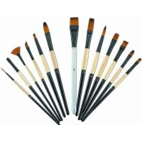Quality Brown Round Tip Paint Brush , Acrylic Paint Brushes For Beginners Brass Ferrule wholesale