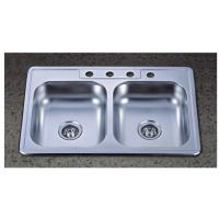 China 33x22 inch Double Bowl Stainless Steel Topmounted Kitchen Sink with 4 Four holes on sale