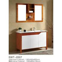Cheap Modern Wooden Square Sinks Bathroom Vanities With Ceramic Basin 80cm for sale