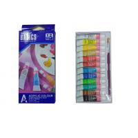 Quality Strong Adhesion Basics Colored Acrylic Paint Set , Artists Paint Pigments 12 X 6ml Tubes wholesale