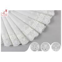 Quality White Cotton Lace Fabric / Eyelet Lace Trim Ribbon With Floral Lace Scalloped Edge DTM Color Dyeing wholesale