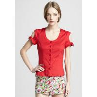 Quality Red Short Sleeve Tight Ladies Fashion Tops And Blouses For Summer , Spring , Autumn wholesale