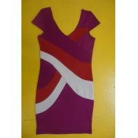 Quality Bodycon Workwear V Neck Short Sleeve Dress , Color Block Shift Dress For Work wholesale