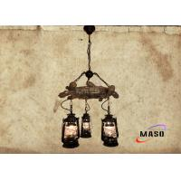 Quality Maso Vintage American Natural Style Pendant Lamp Resin Material with Metal Kerosene Lamp Three Lights Black Wood Color wholesale
