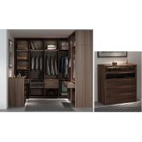 Quality Custom Furniture Walnut wood Built Walk in Wardrobe Closet with Cloth display racks and Storage Cabinets wholesale