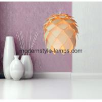 Quality Christmas Decor Modern Wood Lamp D40*H40cm Size Natural Wood Pine Cone Chandelier wholesale